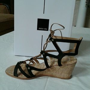 New Dolce Vita Women Lynnie Wedge Sandal 9 M Black